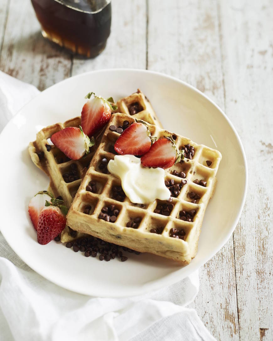 Chocolate Chip Almonds Waffles from www.whatsgabycooking.com