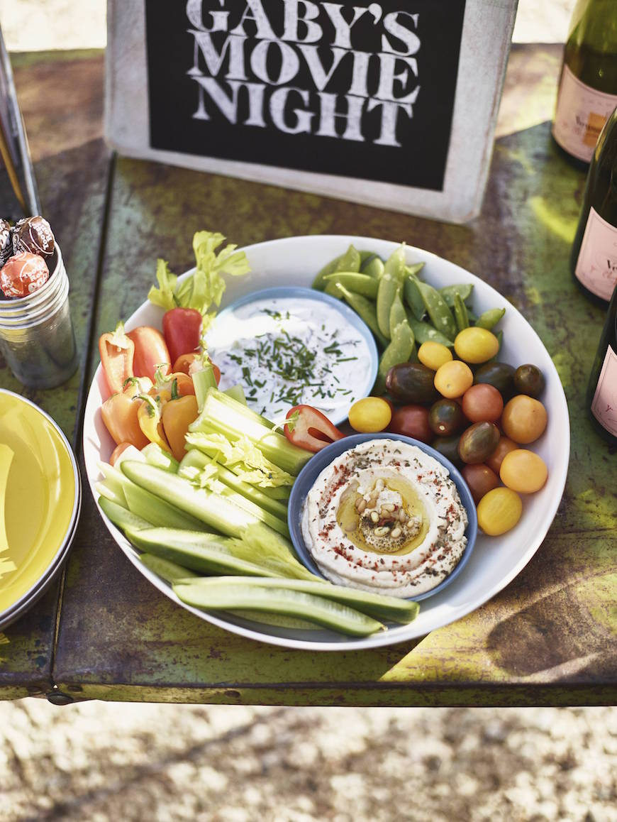 Outdoor Movie Night with crudite platter from www.whatsgabycooking.com (@whatsgabycookin)