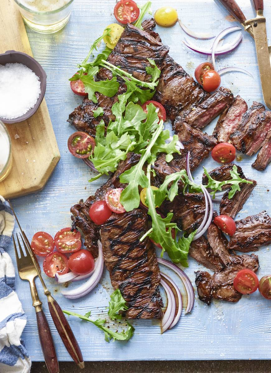 Grilled-Skirt-Steak-with-Tomato-Salad