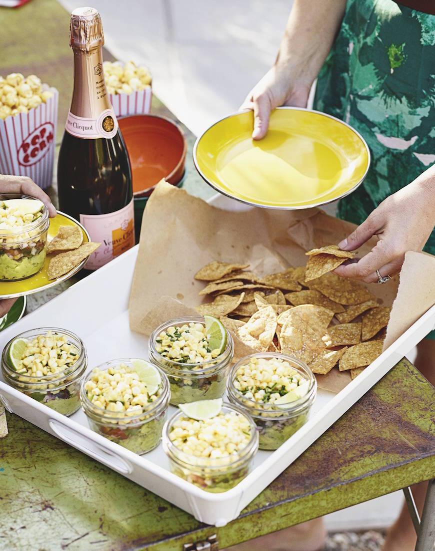 Layered Corn Guacamole / Cinco de Mayo recipes on www.whatsgabycooking.com (@whatsgabycookin)