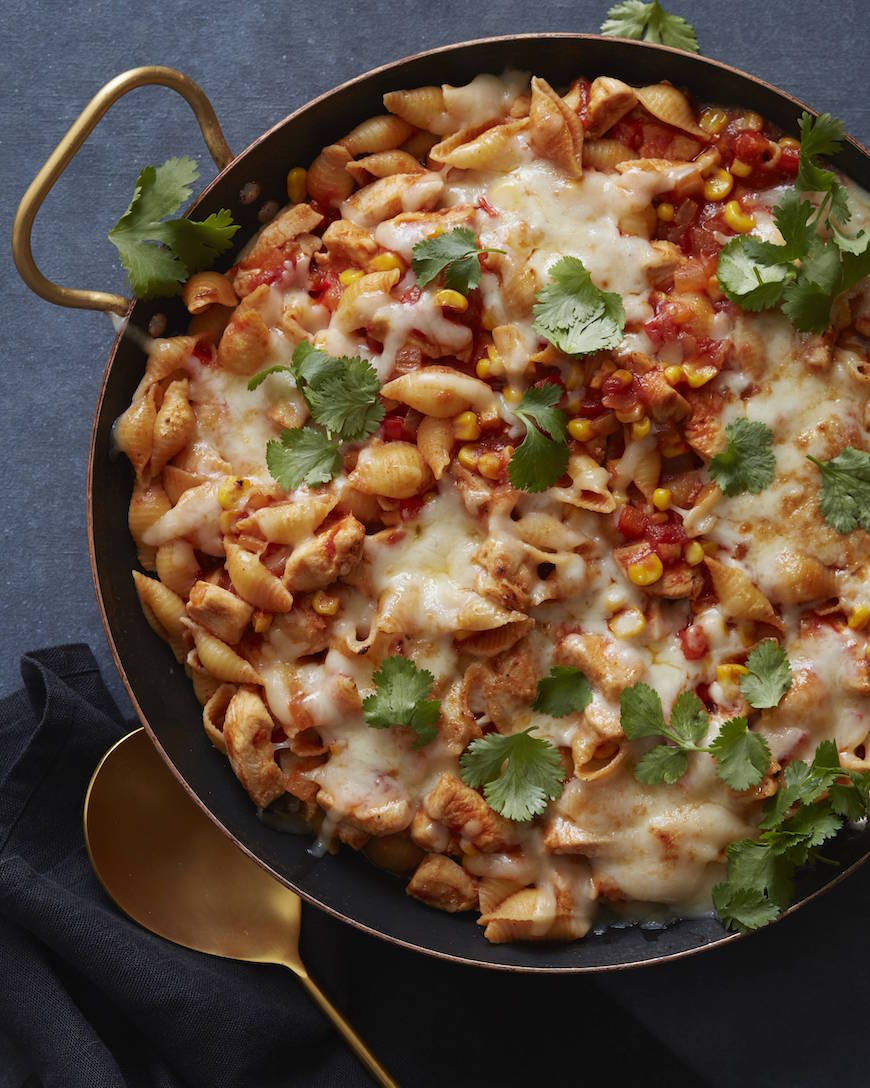Chicken Enchilada Pasta Bake from www.whatsgabycooking.com (@whatsgabycookin)