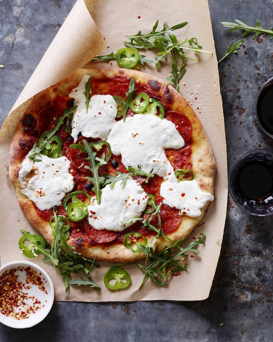 Burrata Pepperoni Pizza from www.whatsgabycooking.com (@whatsgabycookin)