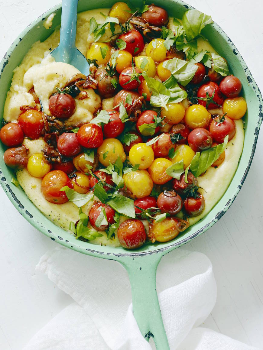 White Cheddar Polenta with Blistered Tomatoes from www.whatsgabycooking.com (@whatsgabycookin)